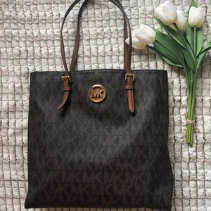 MICHAEL KORS Tall Brown Logo jet set Tote/Shopper